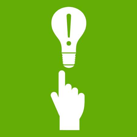 A finger pointer and light bulb icon green Vectores
