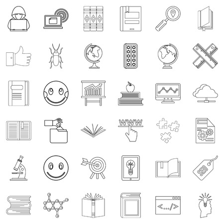 Graduation icons set, outline style