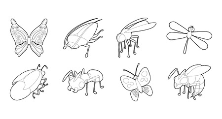 Insects icon set. Outline set of insects vector icons for web design isolated on white background. Illustration