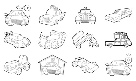 Car icon set. Outline set of car vector icons for web design isolated on white background
