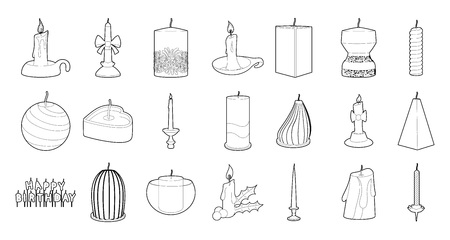 Candle icon set. Outline set of candle vector icons for web design isolated on white background