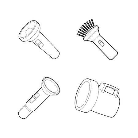 Flashlight icon set, outline style Illustration