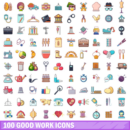 100 good work icons set. Cartoon illustration of 100 good work vector icons isolated on white background.