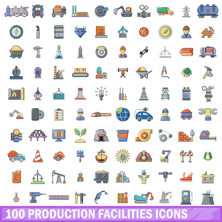 100 production facilities icons set. Cartoon illustration of 100 production facilities vector icons isolated on white background