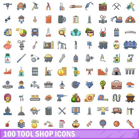 Cartoon illustration of 100 tool shop vector icons isolated on white background. Vektoros illusztráció