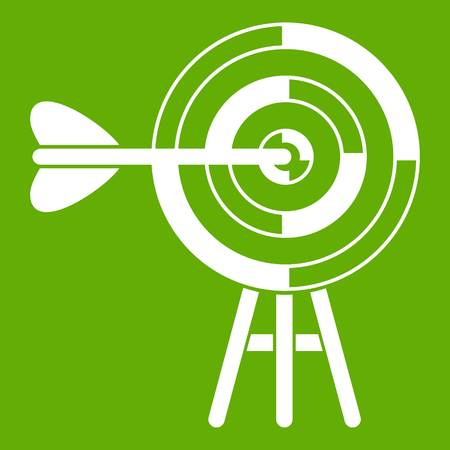 Target with an arrow icon white isolated on green background. Vector illustration. Illustration