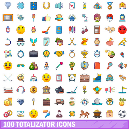 Cartoon illustration of 100 totalizator vector icons isolated on white background.