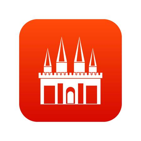 Kingdom palace icon digital red for any design isolated on white vector illustration