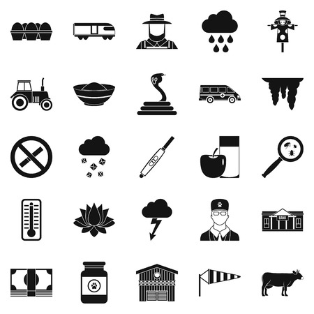 Tillage icons set. Simple set of 25 tillage vector icons for web isolated on white background Vectores
