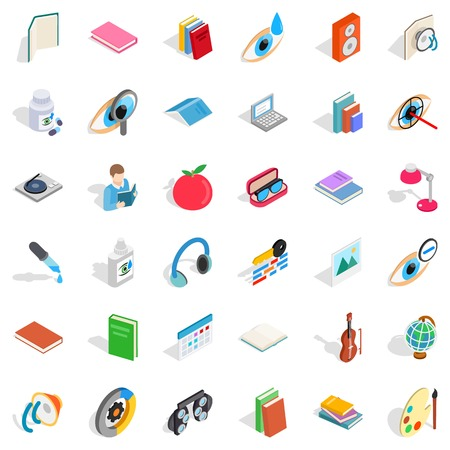 Knowledge icons set. Isometric style of 36 knowledge vector icons for web isolated on white background