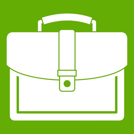 Business briefcase icon white isolated on green background. Vector illustration Illustration