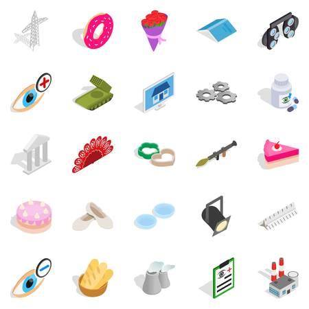 Craft icons set. Isometric set of 25 craft vector icons for web isolated on white background