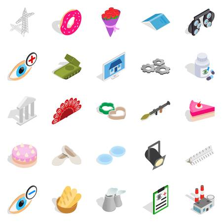 Craft icons set. Isometric set of 25 craft vector icons for web isolated on white background