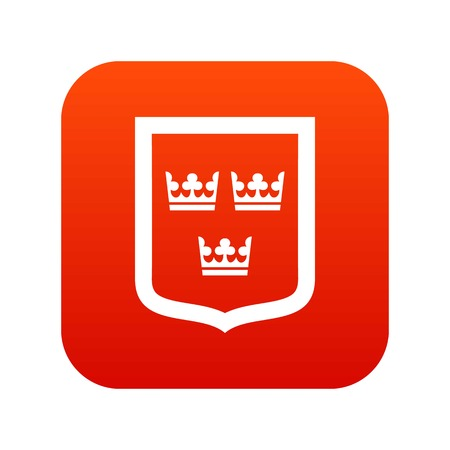 Coat of arms of Sweden icon digital red for any design isolated on white vector illustration Stock Illustratie