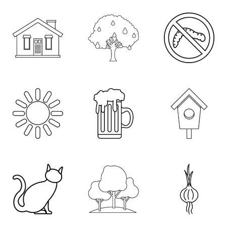 Hamlet icons set. Outline set of 9 hamlet vector icons for web isolated on white background Illustration