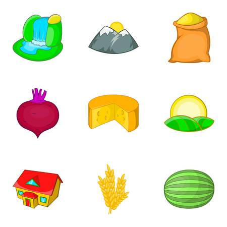 Thorp icons set. Cartoon set of 9 thorp vector icons for web isolated on white background Illustration