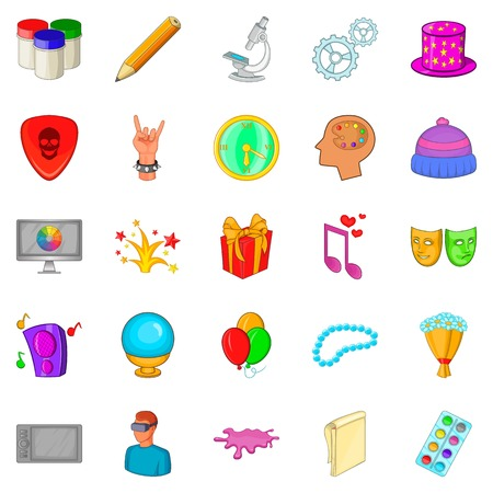 Creative icons set. Cartoon set of 25 creative vector icons for web isolated on white background