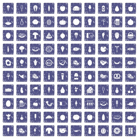 100 food icons set in grunge style sapphire color isolated on white background vector illustration