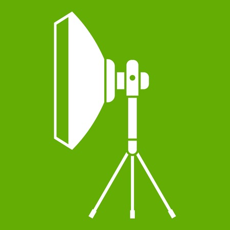 Studio lighting equipment icon white isolated on green background. Vector illustration