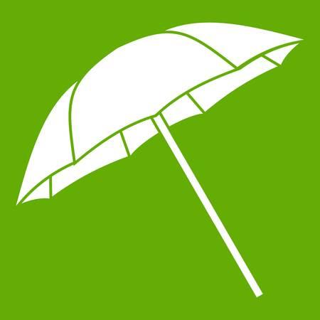 Umbrella icon white isolated on green background. Vector illustration