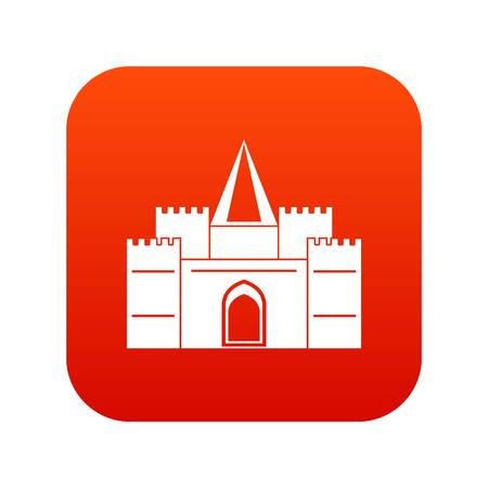 Residential mansion with towers icon digital in red Illustration