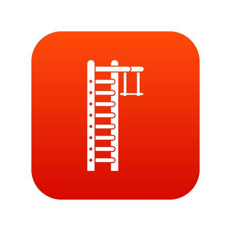 Swedish ladder icon digital red Illustration
