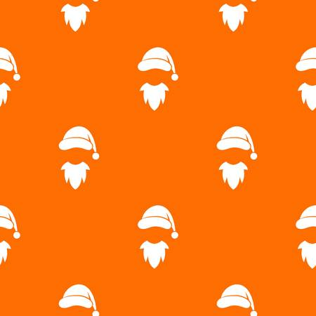 Cap with pompon of Santa Claus and beard pattern repeat seamless in orange color for any design. Vector geometric illustration Illustration