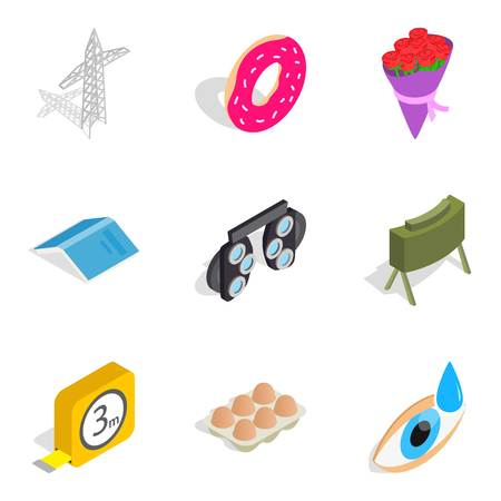 Workshop icons set. Isometric set of 9 workshop vector icons for web isolated on white background