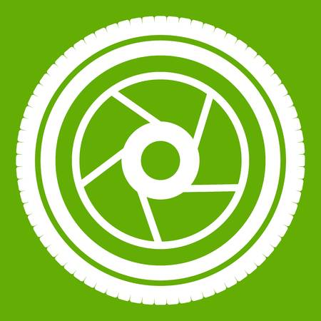 Camera aperture icon white isolated on green background. Vector illustration