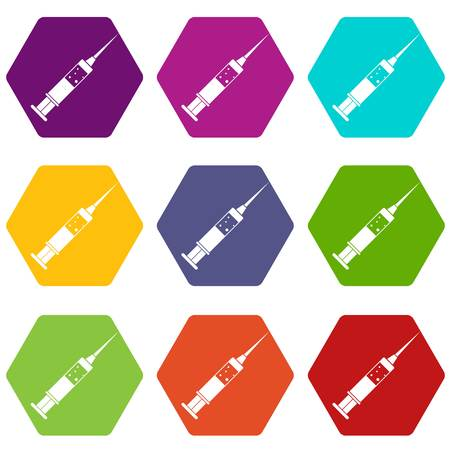 Injection syringe icon set color hexahedron Illustration