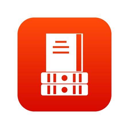 Three books icon digital red Illustration
