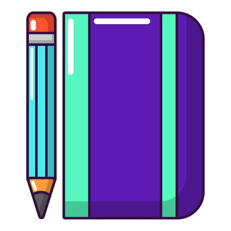 Notepad pencil icon, cartoon style