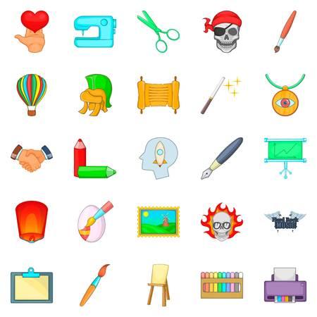 Creativity intelligence icons set, cartoon style Illustration