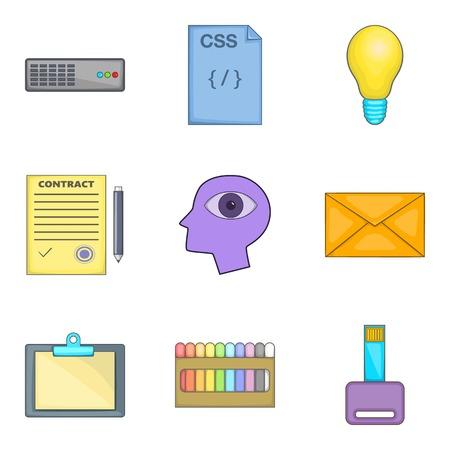 Creative job icons set, cartoon style Illustration