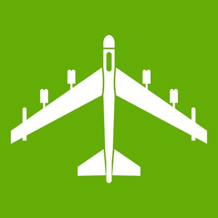 Armed fighter jet icon in green Illustration