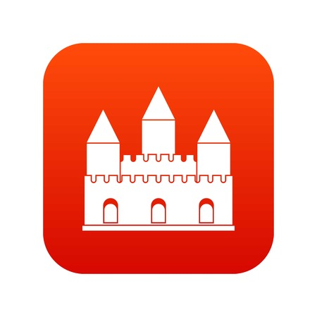 Castle tower icon digital red