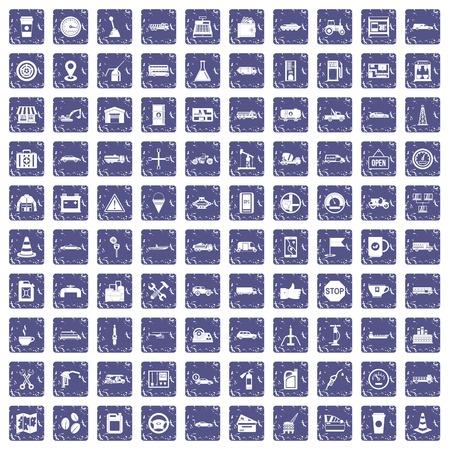 100 gas station icons set grunge sapphire 일러스트