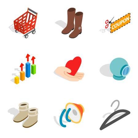 Intrusive advertising icons set, isometric style Illustration