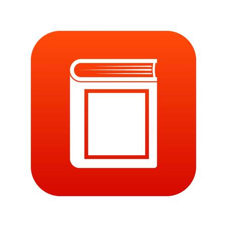 Thick book icon digital red