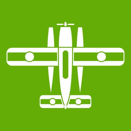 Ski equipped airplane icon white isolated on green background. Vector illustration