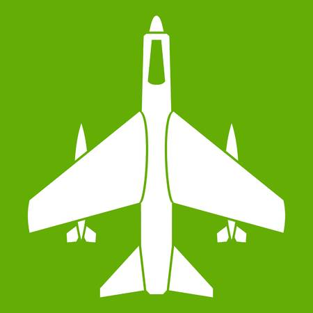 Armed fighter jet icon green