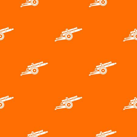 Artillery gun pattern repeat seamless in orange color for any design vector illustration.