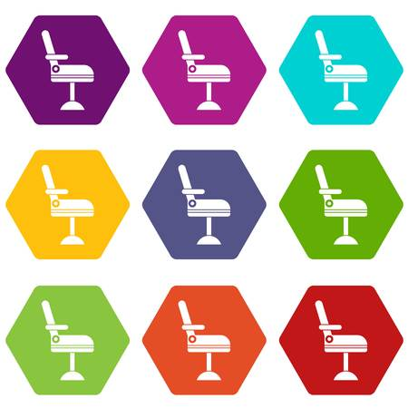 Chair icon set many color hexahedron isolated on white vector illustration.