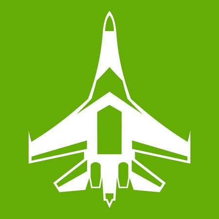 Jet fighter plane icon green Illustration