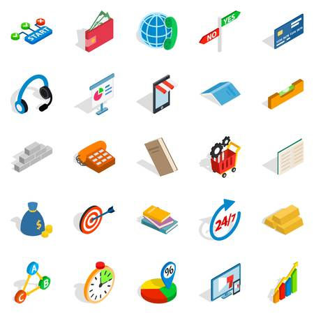 Isometric set of 25 group vector icons for web isolated on white background.