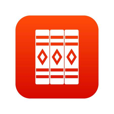 Three literary books icon digital red for any design isolated on white vector illustration.