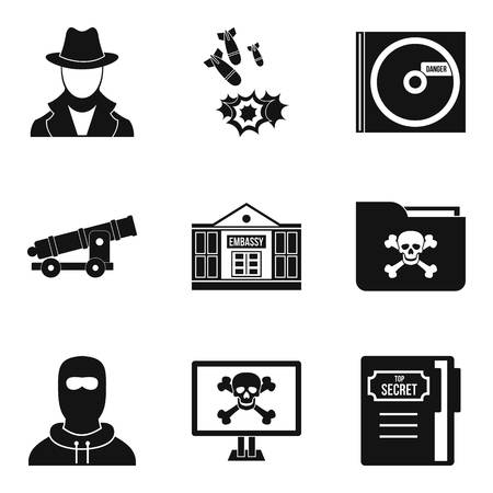 Misdoing icons set, simple style