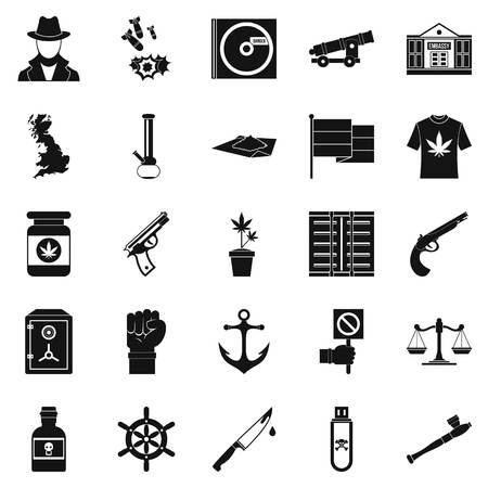 Crime investigation icons set, simple style Illustration