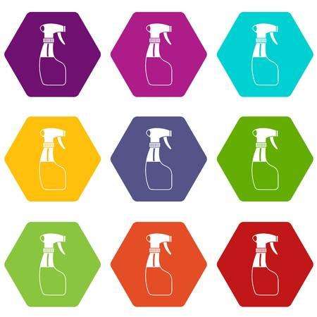 Spray icon set color hexahedron