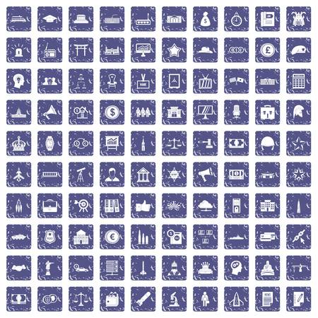 100 government icons set grunge sapphire.